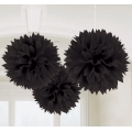 Tissue Ball Decoration 20cm Black Fluffy (3) 